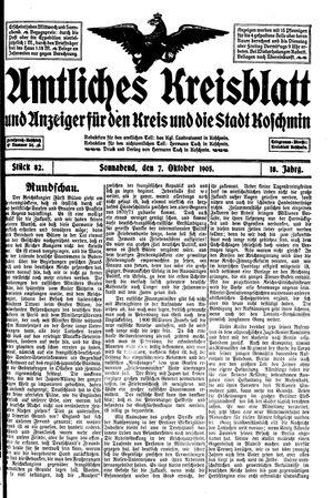 Amtliches Kreisblatt und Anzeiger für den Kreis und die Stadt Koschmin vom 07.10.1905