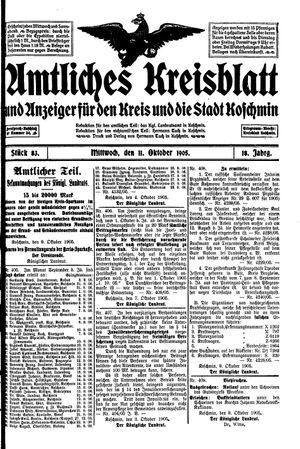 Amtliches Kreisblatt und Anzeiger für den Kreis und die Stadt Koschmin vom 11.10.1905