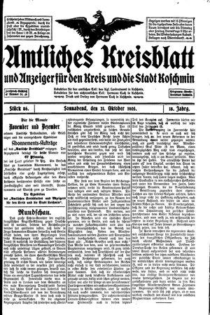 Amtliches Kreisblatt und Anzeiger für den Kreis und die Stadt Koschmin vom 21.10.1905