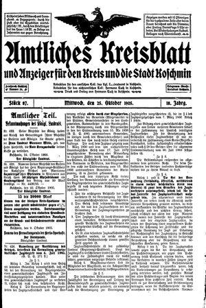 Amtliches Kreisblatt und Anzeiger für den Kreis und die Stadt Koschmin on Oct 25, 1905