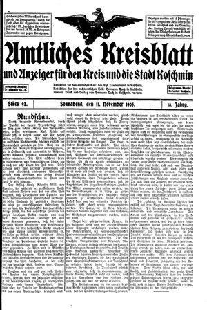 Amtliches Kreisblatt und Anzeiger für den Kreis und die Stadt Koschmin on Nov 11, 1905