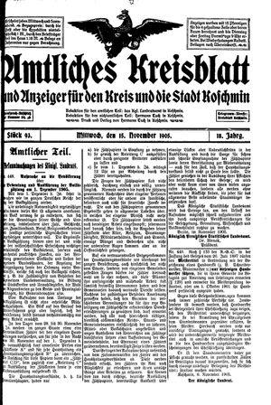 Amtliches Kreisblatt und Anzeiger für den Kreis und die Stadt Koschmin vom 15.11.1905
