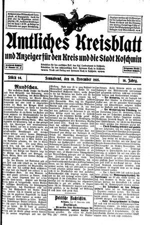 Amtliches Kreisblatt und Anzeiger für den Kreis und die Stadt Koschmin vom 18.11.1905