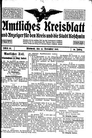 Amtliches Kreisblatt und Anzeiger für den Kreis und die Stadt Koschmin vom 22.11.1905