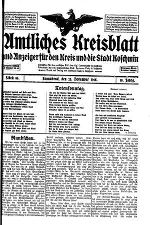 Amtliches Kreisblatt und Anzeiger für den Kreis und die Stadt Koschmin vom 25.11.1905
