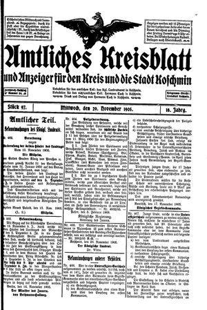 Amtliches Kreisblatt und Anzeiger für den Kreis und die Stadt Koschmin on Nov 29, 1905