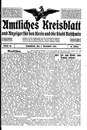 Amtliches Kreisblatt und Anzeiger für den Kreis und die Stadt Koschmin vom 02.12.1905