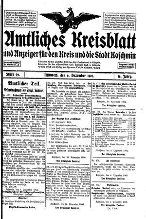 Amtliches Kreisblatt und Anzeiger für den Kreis und die Stadt Koschmin vom 06.12.1905