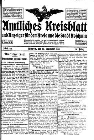 Amtliches Kreisblatt und Anzeiger für den Kreis und die Stadt Koschmin vom 13.12.1905