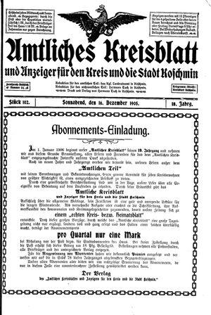 Amtliches Kreisblatt und Anzeiger für den Kreis und die Stadt Koschmin vom 16.12.1905