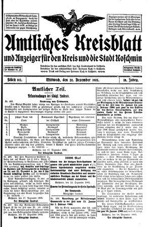 Amtliches Kreisblatt und Anzeiger für den Kreis und die Stadt Koschmin on Dec 20, 1905