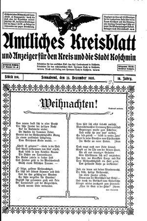 Amtliches Kreisblatt und Anzeiger für den Kreis und die Stadt Koschmin on Dec 23, 1905