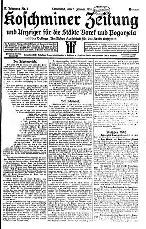 Koschminer Zeitung und Anzeiger für die Städte Borek und Pogorzela vom 03.01.1914