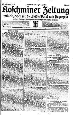 Koschminer Zeitung und Anzeiger für die Städte Borek und Pogorzela vom 07.01.1914