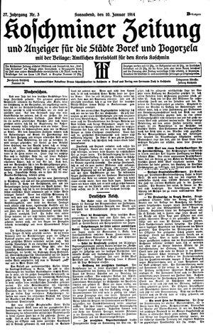 Koschminer Zeitung und Anzeiger für die Städte Borek und Pogorzela vom 10.01.1914