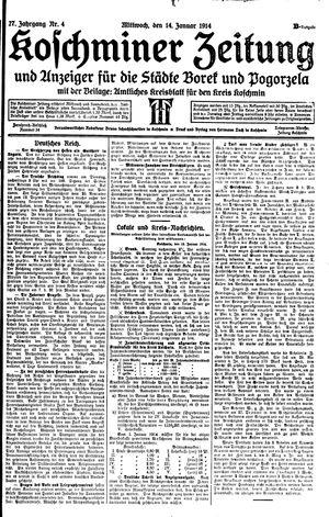Koschminer Zeitung und Anzeiger für die Städte Borek und Pogorzela on Jan 14, 1914