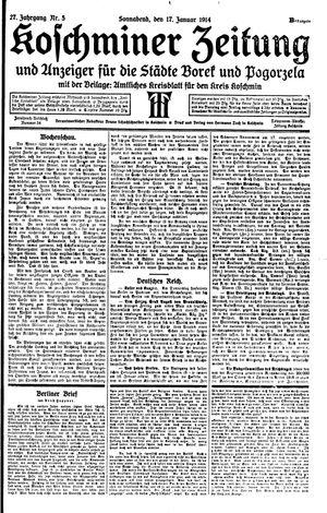 Koschminer Zeitung und Anzeiger für die Städte Borek und Pogorzela vom 17.01.1914