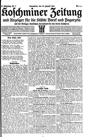 Koschminer Zeitung und Anzeiger für die Städte Borek und Pogorzela vom 24.01.1914