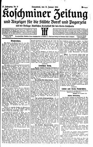 Koschminer Zeitung und Anzeiger für die Städte Borek und Pogorzela vom 31.01.1914