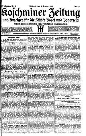 Koschminer Zeitung und Anzeiger für die Städte Borek und Pogorzela on Feb 4, 1914