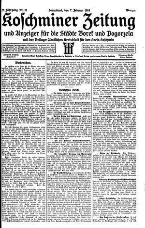 Koschminer Zeitung und Anzeiger für die Städte Borek und Pogorzela vom 07.02.1914