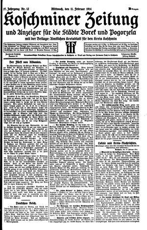Koschminer Zeitung und Anzeiger für die Städte Borek und Pogorzela vom 11.02.1914