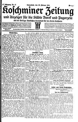 Koschminer Zeitung und Anzeiger für die Städte Borek und Pogorzela vom 28.02.1914