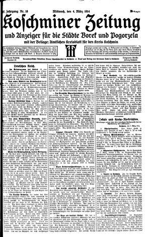 Koschminer Zeitung und Anzeiger für die Städte Borek und Pogorzela vom 04.03.1914