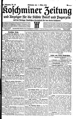 Koschminer Zeitung und Anzeiger für die Städte Borek und Pogorzela vom 11.03.1914