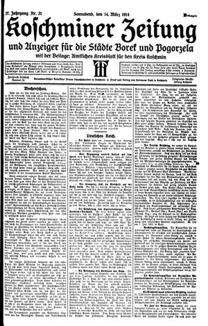 Koschminer Zeitung und Anzeiger für die Städte Borek und Pogorzela vom 14.03.1914
