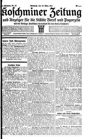Koschminer Zeitung und Anzeiger für die Städte Borek und Pogorzela vom 18.03.1914