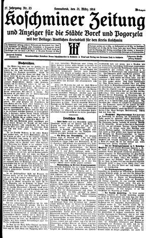 Koschminer Zeitung und Anzeiger für die Städte Borek und Pogorzela on Mar 21, 1914