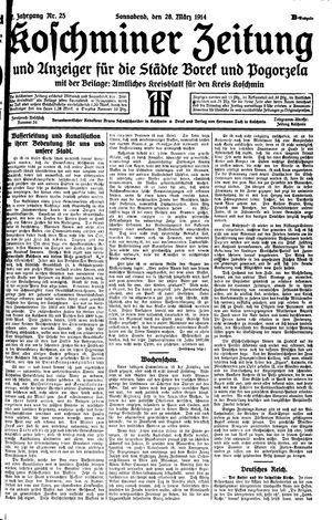 Koschminer Zeitung und Anzeiger für die Städte Borek und Pogorzela vom 28.03.1914