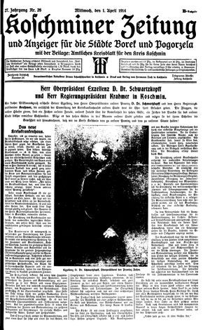 Koschminer Zeitung und Anzeiger für die Städte Borek und Pogorzela vom 01.04.1914