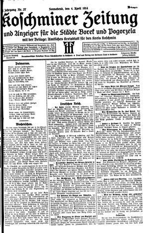 Koschminer Zeitung und Anzeiger für die Städte Borek und Pogorzela vom 04.04.1914
