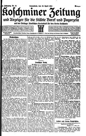 Koschminer Zeitung und Anzeiger für die Städte Borek und Pogorzela vom 18.04.1914