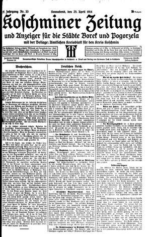 Koschminer Zeitung und Anzeiger für die Städte Borek und Pogorzela vom 25.04.1914