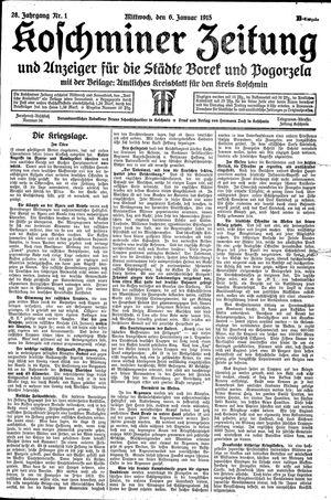 Koschminer Zeitung und Anzeiger für die Städte Borek und Pogorzela vom 06.01.1915