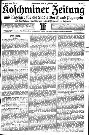 Koschminer Zeitung und Anzeiger für die Städte Borek und Pogorzela vom 16.01.1915
