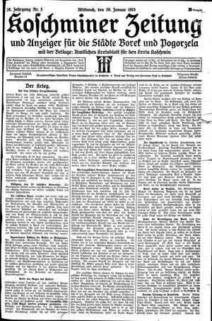 Koschminer Zeitung und Anzeiger für die Städte Borek und Pogorzela vom 20.01.1915