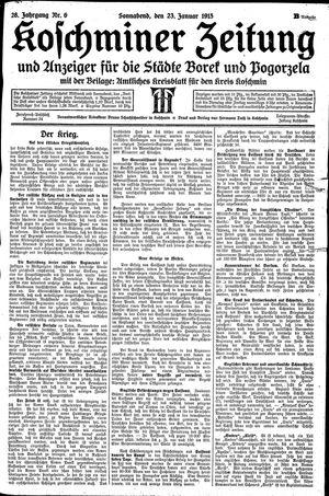 Koschminer Zeitung und Anzeiger für die Städte Borek und Pogorzela on Jan 23, 1915