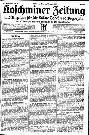 Koschminer Zeitung und Anzeiger für die Städte Borek und Pogorzela vom 03.02.1915