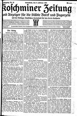 Koschminer Zeitung und Anzeiger für die Städte Borek und Pogorzela vom 06.02.1915