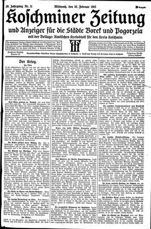 Koschminer Zeitung und Anzeiger für die Städte Borek und Pogorzela vom 10.02.1915