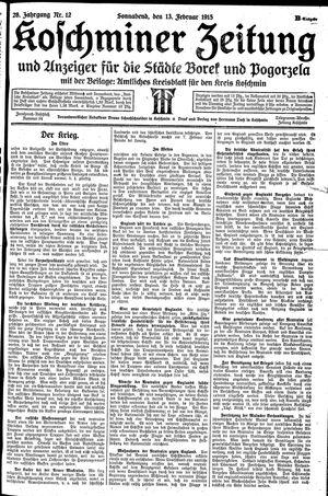 Koschminer Zeitung und Anzeiger für die Städte Borek und Pogorzela vom 13.02.1915