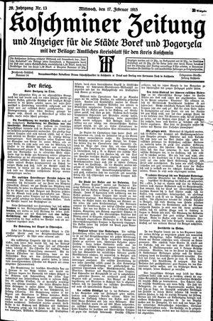 Koschminer Zeitung und Anzeiger für die Städte Borek und Pogorzela vom 17.02.1915