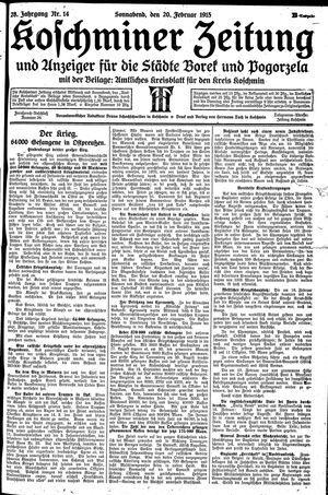 Koschminer Zeitung und Anzeiger für die Städte Borek und Pogorzela vom 20.02.1915