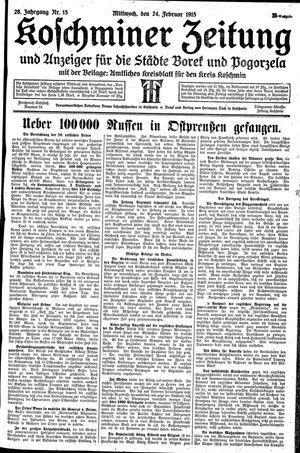 Koschminer Zeitung und Anzeiger für die Städte Borek und Pogorzela vom 24.02.1915