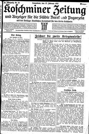Koschminer Zeitung und Anzeiger für die Städte Borek und Pogorzela vom 27.02.1915