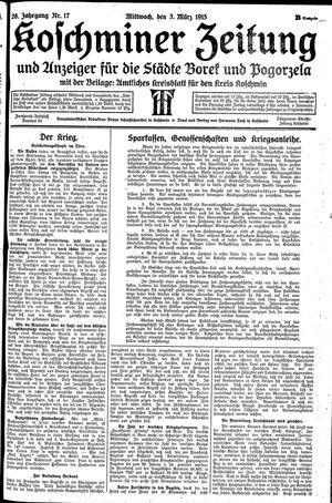 Koschminer Zeitung und Anzeiger für die Städte Borek und Pogorzela vom 03.03.1915